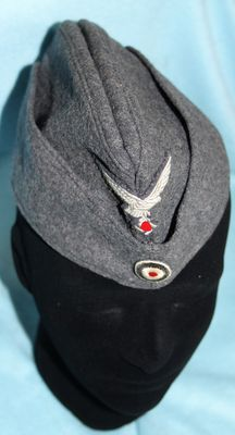 Luftwaffe hat, in very good condition, with emblems and stamp 1941, from the island of Guernsey