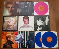 David Bowie- Stunning lot of 7 classic albums + 40th anniversary pic disc: Space Oddity, Ziggy Stardust, Hunky Dory, Aladdin Sane, Heroes, Low, Stage 2lp & Young Americans pic disc