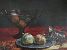 Jurgen Georg Pletser - attributed to - (1871-1942) - varied still life with fruit, scale, goblet and pewter plate