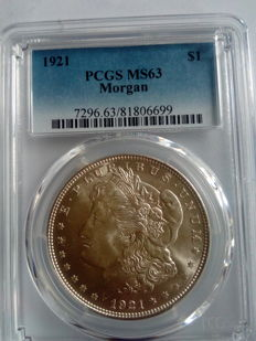 United States - 1 dollar 'Morgan' 1921 PCGS MS63 – silver