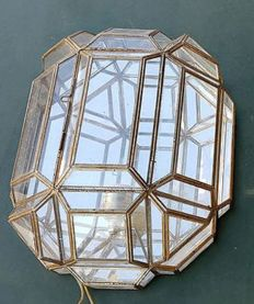Wall light made of bronze, glass and mirror.  Spain approximately from the 70s.