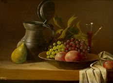 Pijnenburg (20/21st century) - still life with tin can, fruit and glass