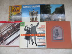 The Beatles / Harrison / Wings - Lot of six LP's  with a very rare German 1964 Electrola Beat-compilation LP with two 'Die Beatles' songs (sung in German) + George Harrison - 3LP box Bangla Desh + red 2LP