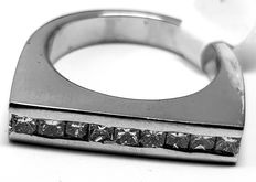 Ring made of white gold set with princess cut diamond 1.07 ct -  size 55 / 17.6 mm