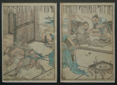 "Original dyptich woodcut in pastel shades, in dark grey partout, titled ""Priest & Demons"" by Katsushika Hokusai (1760 - 1849) - Japan - 1849"