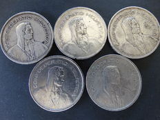 Switzerland – 5 silver francs from 1931/1935/1953/1974/1977