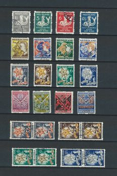 The Netherlands 1927/1933 – Selection of syncopated Children's stamps – NVPH 78/85 and 94/101 including pairs