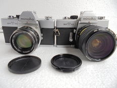 A lot of 2 Minolta SR T 101 single-lens reflex cameras.