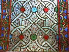 Stained coloured glass, geometric 1900