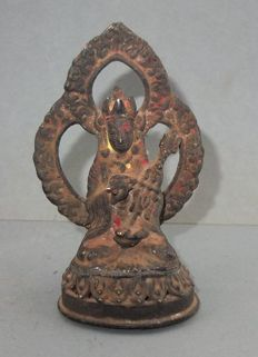 Bronze Padmasambhava Guru Rinpoche Statue with Tantric Staff Kathvanga Skull Cup and Offering Traces - Nepal - 19th Century
