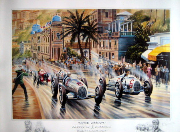 "Fine Art Print - ""Silver Arrows"" Mercedes-Benz/Caracciola-Auto Union/Rosemeyer  Monaco Grand Prix  - 1936"