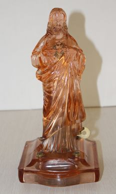 Glass statue of Jesus with built-in music box