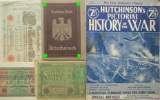 German Arbeitsbucher: 1st type from Herne + 3 banknotes + Hutchinsons Pictorial History of the war. WW2