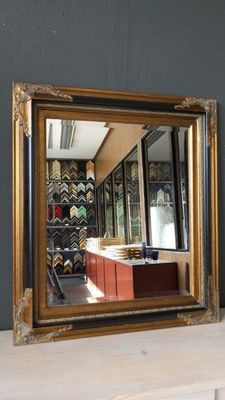 Large wall mirror - facet cut glass - hand-gilded - antique gold/black coloured - Empire style
