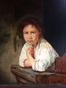 "Unknown artist, monogram L.V. (20th century), after Rembrandt ""Girl looking out the window"""