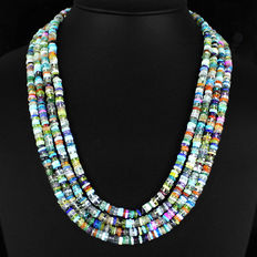 Multicoloured, four-strand gemstone necklace from India