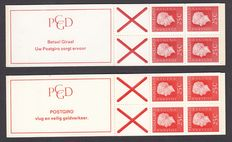 The Netherlands 1969/1971 - stamp booklets Juliana Regina - NVPH PB 9b and 9eF, both with counting square