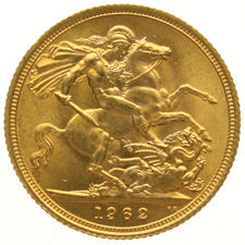 England – sovereign 1962 – Elizabeth II – gold.