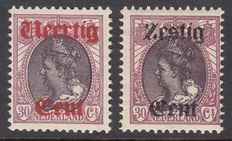 The Netherlands 1919 – Aid emission, including mirrored print – NVPH 102/103
