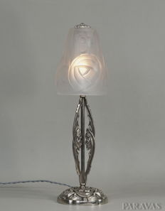 Degué -  French Art Deco lamp - nickeled solid brass and pressed glass