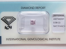 Natural Fancy  Purplish Pink Princess cut diamond  0.56 ct with I.G.I certificate