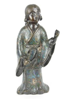 Young girl 'onna no ko' in bronze with champlevé - Japan - 19th century