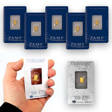 Switzerland - Pamp Suisse gold bar - 5 pieces - Fortuna - in blister with certificate - serial number - .999