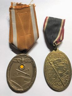 WW II German defensive wall decoration and Kyffhäuser medal with ribbon