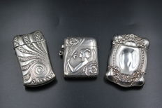 Trio of Art Nouveau match safe vesta cases - Two Sterling silver - One Silver plate