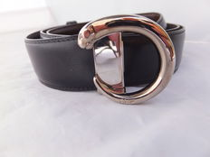 """Authentic  leather """"Cartier"""" reversible Black & Brown Silver Panther Belt, in excellent condition. Paris France around 1980."""