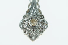 Yellow and white gold Art Deco pendant, 14 kt, set with a diamond and marcasites, approx. 35 mm