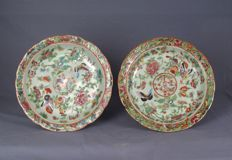 Two beautiful antique porcelain plates – China – 19th century.