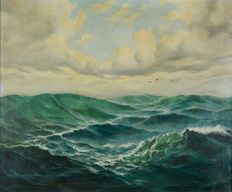 Lindner (20th century) - A seascape with gulls.