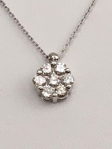 White gold necklace, 18 kt, with white gold pendant, set with diamonds of approx. 0.81 ct in total