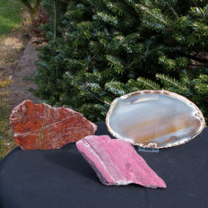 Lot of polished Thulite, Jasper and Agate - 18 x 3.5 and 18 x 2 and 20 x 0.5 cm - 1.328 kg  (3)