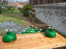 Unknown designer - 6 old billiards lights made of brass with green opalines