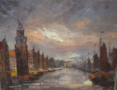Unknown (20th century) - Evening in Amsterdam