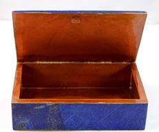 Hand-crafted Royal Blue Lapis Lazuli and Copper hinged Jewellery Box - 148 x 98 x 39mm - 518gm