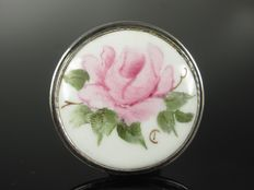 Antique silver porcelain brooch, signed