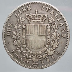 Kingdom of Italy – 2 Lira 1860 'Re Eletto' Vittorio Emanuele II – silver