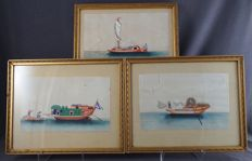 Collection of 3 paintings on rice paper depicting boats - China - Around 1900