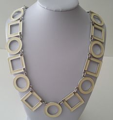 1990's TRIFARI TM Silver Tone Enamel Geometric Necklace