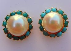 Yellow gold (18 kt) earrings with 8 mm pearl + turquoises