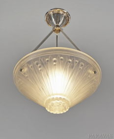 Verrerie des Vosges -  French Art Deco chandelier - nickeled solid brass and pressed glass