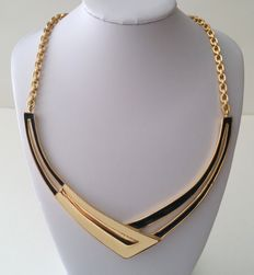 Signed MONET Gold Plated Enamel Bib Necklace
