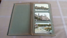 Antique album with very old Dutch postcards from Amsterdam, Rotterdam and other cities and villages, 105x