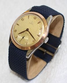 Vintage Omega 2489-2  stainless steel and 18k rose gold bezel  30t2 pc - men's watch - 1940-50