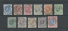The Netherlands 1872/1888 - King William III - NVPH 19/29 with complete small circular cancellations