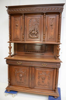 Henri Deux - oak sideboard with beautiful carving - France - ca. 1880