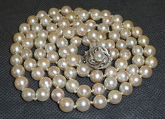Long necklace pearl necklace Akoya pearls 7 mm, length: 92 cm